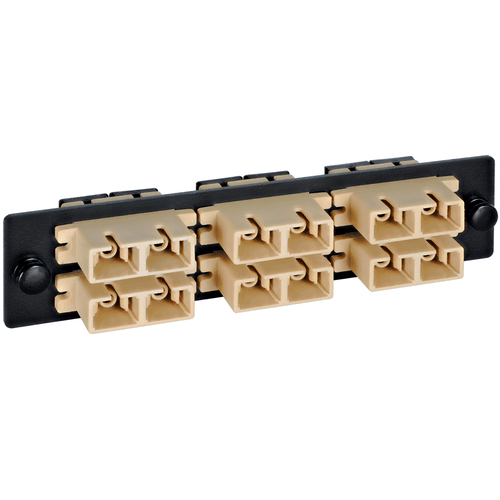 SC-SC Fiber Optic LGX Adapter Panel with Biege Multimode Adapters for 12 Fibers