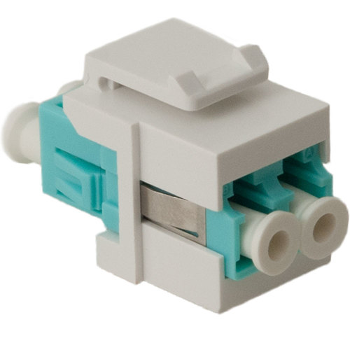 LC Fiber Optic Keystone Coupler (OM3) with Metal Sleeves and Duplex Ports