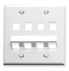 Angled Faceplate with 4 Flat and 4 Angled Ports for EZ/HD Style in Double Gang in White