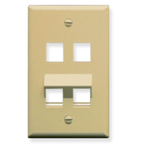 Faceplate with Two Ports Flat and Two Ports Angled for EZ/HD Style in Single Gang