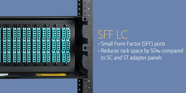 SFF LC •Small Form Factor (SFF) ports •Reduces rack space by 50% compared to SC and ST adapter panels