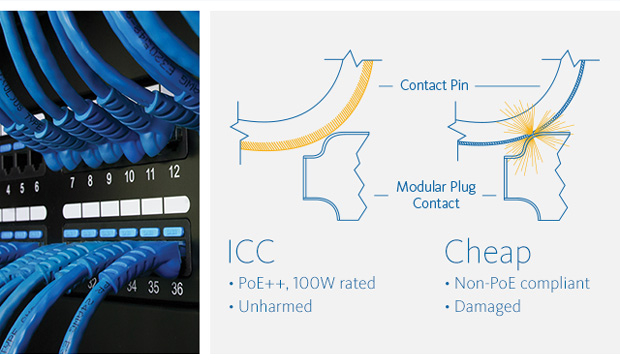 ICC: •PoE++ •100W rated Cheap: •Non-PoE compliant •Damaged
