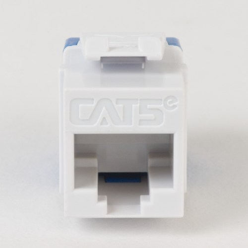 CAT5e RJ45 White Keystone Jack HD Front IC1078F5WH