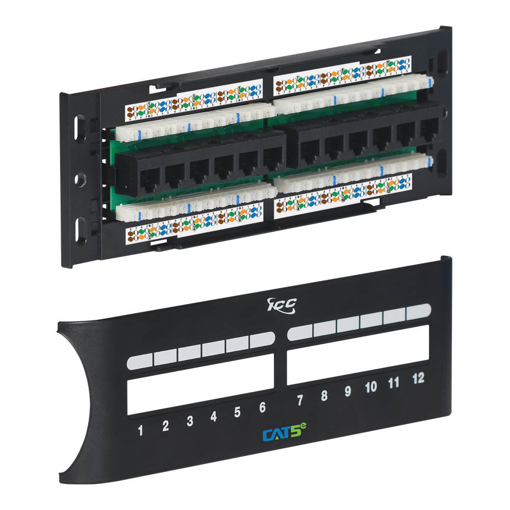 ICC Cat5e 12 Port Front Access Patch Panel ICMPP12F5E
