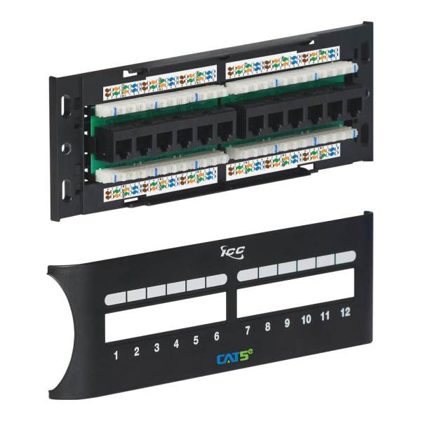 CAT 5e Patch Panel with Front Access and Zero-U for 12 Ports ICMPP12F5E