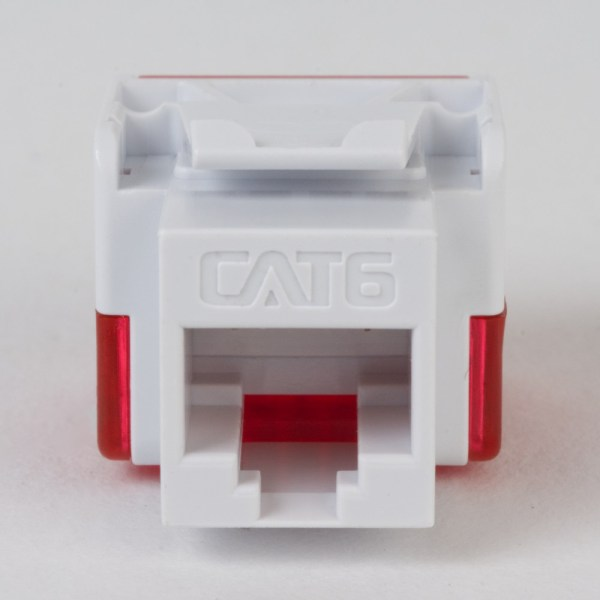 CAT6 RJ45 White Keystone Jack EZ Front IC1078L6WH