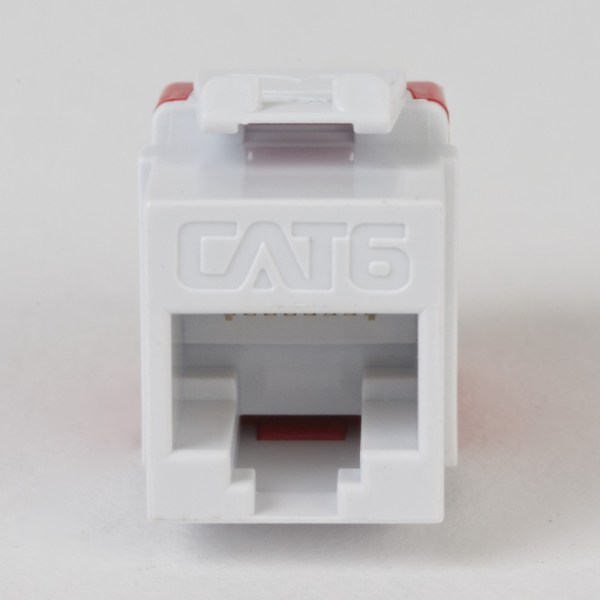 CAT6 RJ45 White Keystone Jack HD Front IC1078F6WH