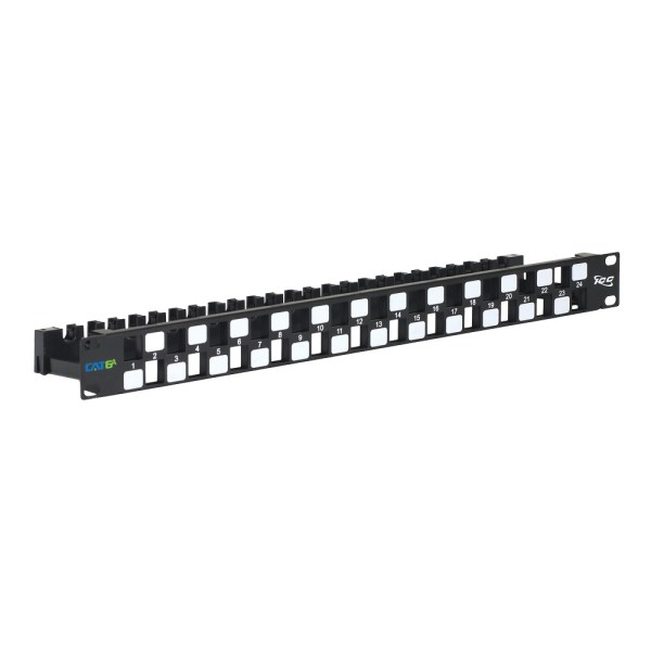 CAT6A UTP Blank Patch Panel with 24 Ports and Staggered and Rear Cable Management Bar in 1 RMS IC107PPU6A