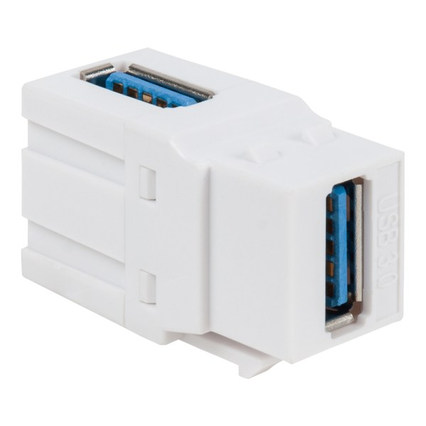90 Degree USB 3.0 Modular Coupler in White for HD Style