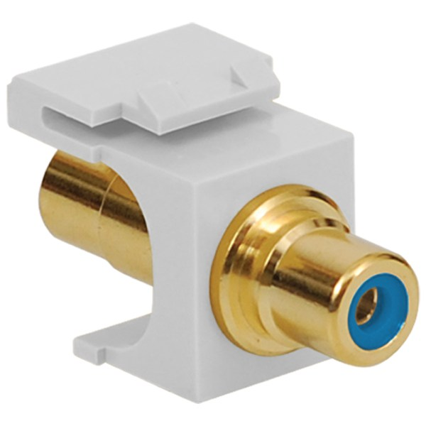 RCA to RCA Modular Jack with Blue Insert and Gold Plated Connector in HD Style