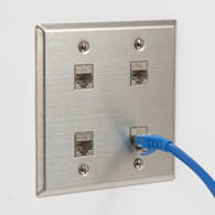Install CAT6A FTP keystone connectors in stainless steel faceplates