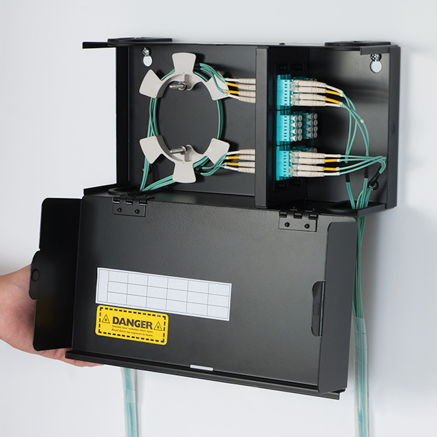 Classic Fiber Optic Wall Mount Enclosure with 2 Slots for LGX Compatible Adapter Panels or Cassettes