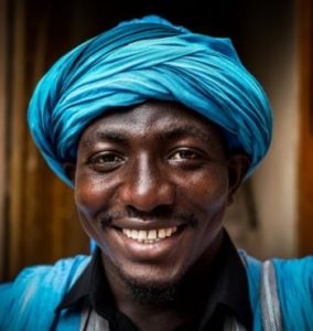 Black man with turban. Decorative