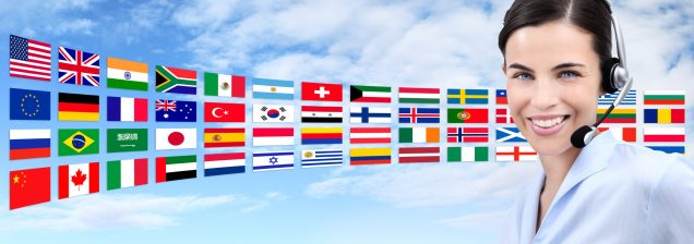 contact us, customer service operator woman with headset smiling isolated on international flags and sky background