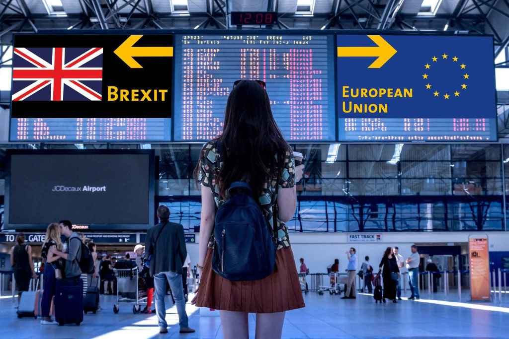 brexit woman infront of airport
