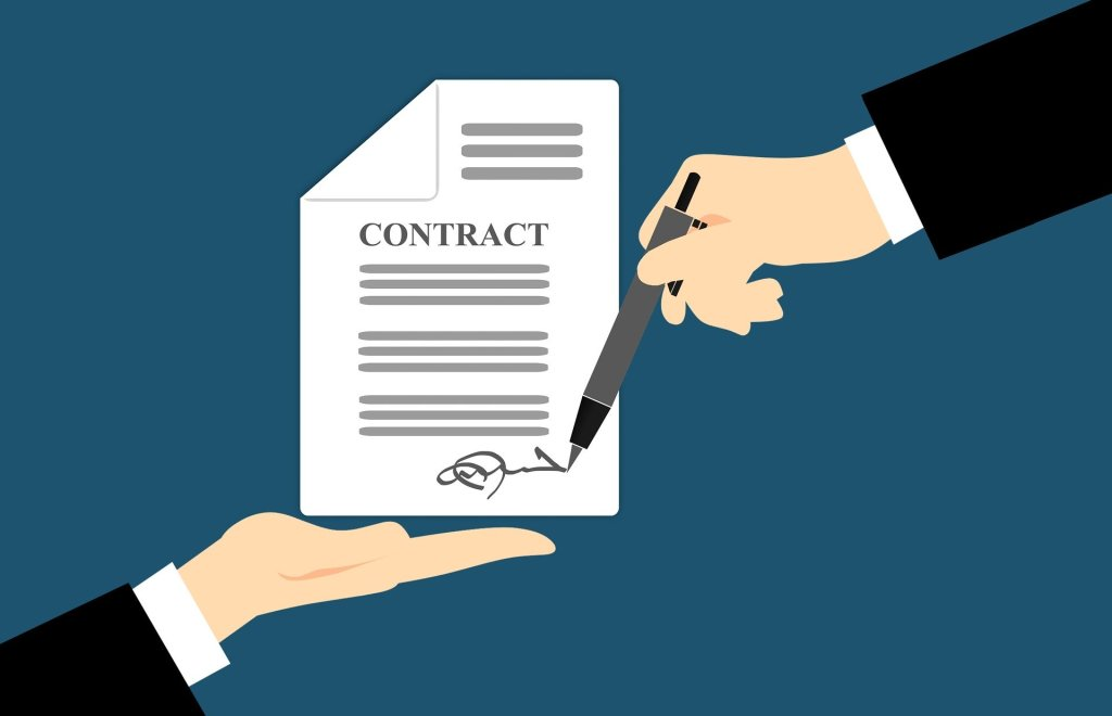 Contract being signed