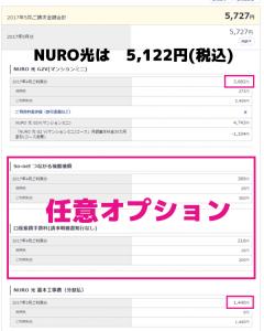 NURO光の料金内訳明細
