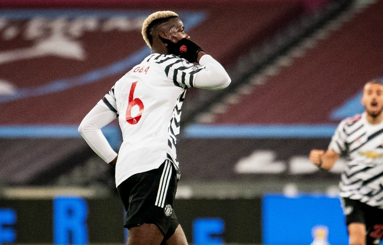 pogba celebrates goal against west ham