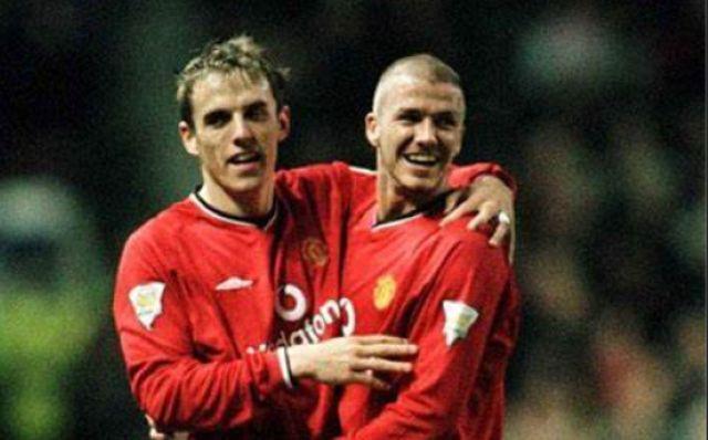 David Beckham and Phil Neville Man United
