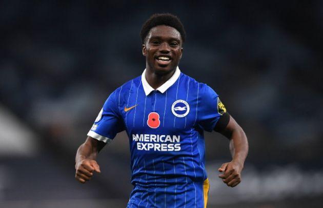 lamptey celebrates a goal