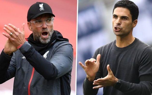 managers klopp and arteta liverpool arsenal