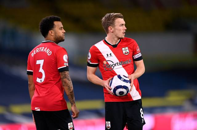 Ryan Bertrand and James Ward-Prowse ponder free-kick for Southampton