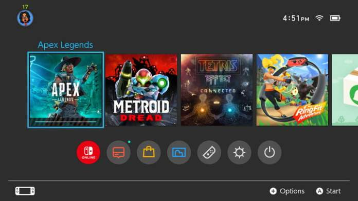 Home screen with game downloading on Nintendo Switch.