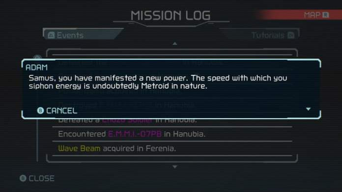The Mission Log in Metroid Dread.
