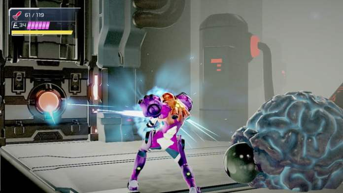Using the Omega Cannon in Metroid Dread.