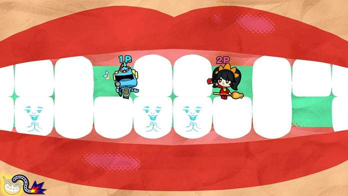 Two Wario characters sit in their mouths in WarioWare: Get It Together!