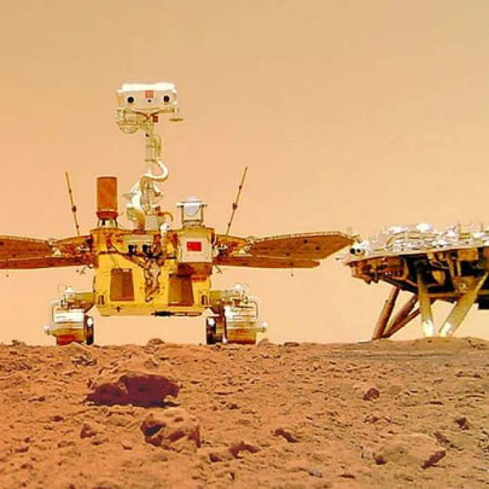China's Zhurong Mars rover, captured by a wireless camera.