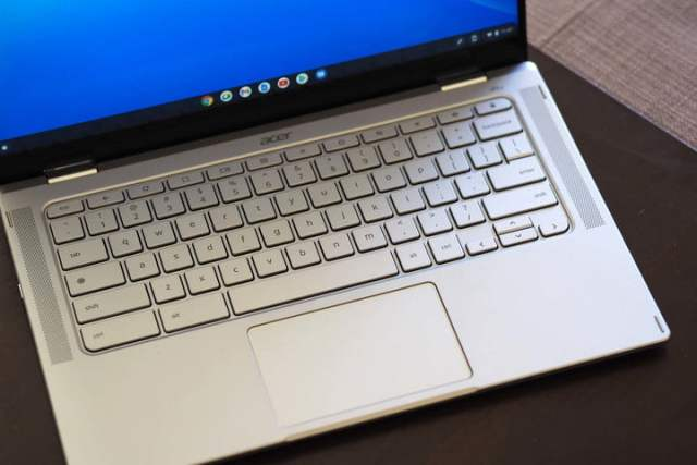 Close up on the Acer Chromebook Spin 514's keyboard.