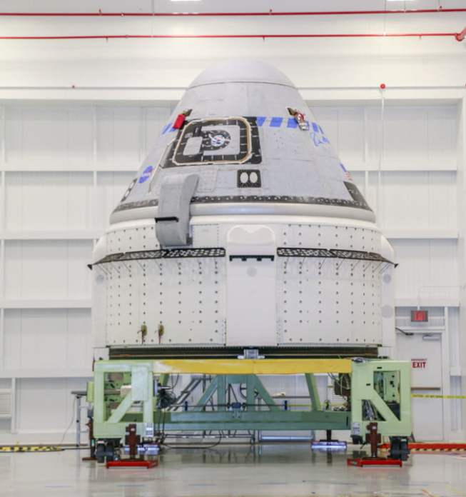 The Boeing CST-100 Starliner spacecraft is seen flying on Orbital Flight Test-2 (OFT-2) at the Commercial Crew and Cargo Processing Facility at NASA's Kennedy Space Center in Florida on July 12, 2021.  Part of the agency's Commercial Crew Program, OFT-2 is an important developmental milestone on the company's path to fly crewed missions for NASA.