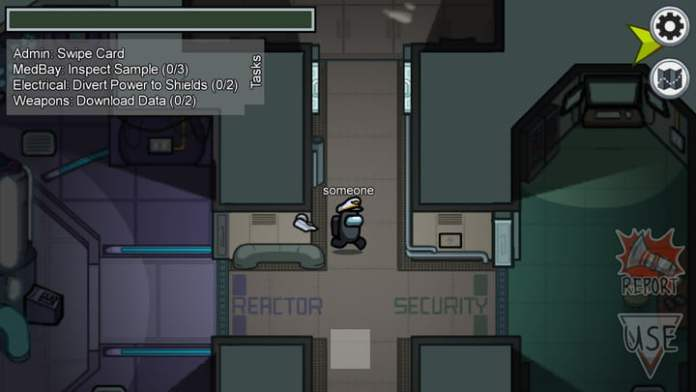 A lone spaceman goes about his tasks in Among Us.