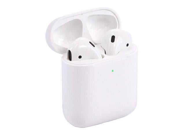 Apple Air Pods 2nd generation with wireless charging case on a white background.