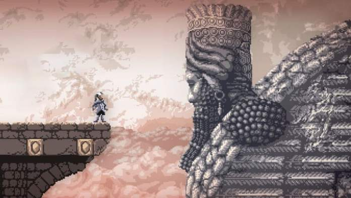 The main character of Axiom Verge 2 looks at a statue