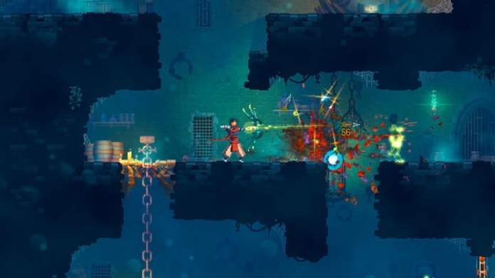 Dead Cells character shooting a bow and arrow.