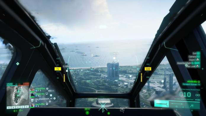 Inside view of a helicopter in Battlefield 2042.