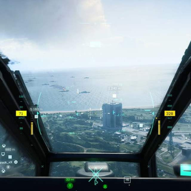 The view from inside a helicopter in Battlefield 2042.