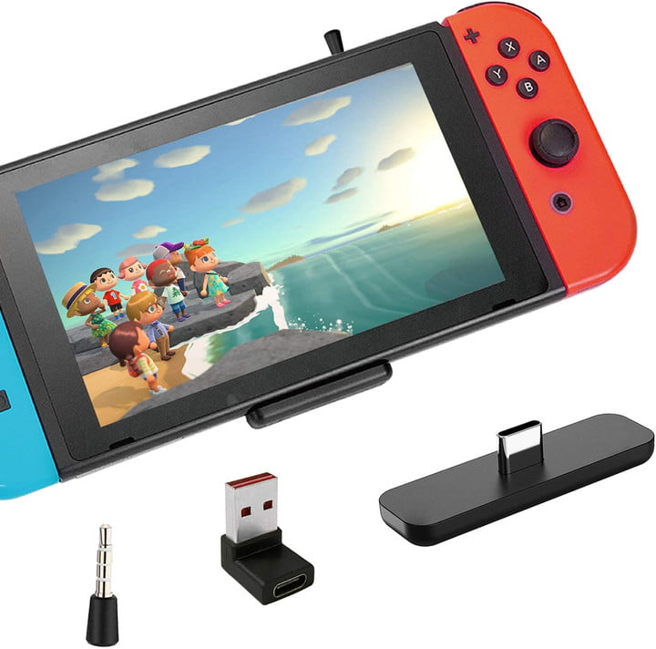 Third-party receiver used for wireless headphones on Nintendo Switch.