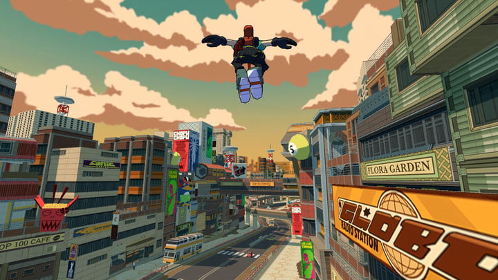 Bomb Rush Cyberfunk screenshot of a character leaping through the city.