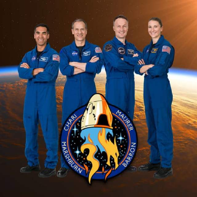 The official crew portrait of the SpaceX Crew-3 mission.