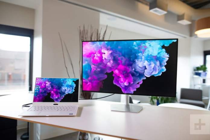 Dell 27 USB-C Ultrathin Monitor S2719DC over laptop to desktop connection.