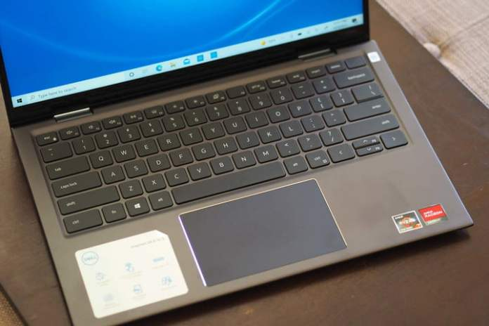 The Dell Inspiron 14 2-in-1 keyboard and trackpad.