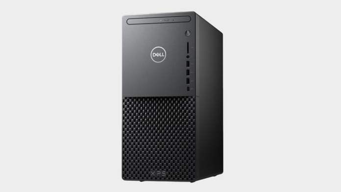Dell XPS desktop tower in black, on a white background.