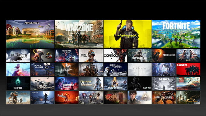 A list in tile form of available DLSS-supporting games.