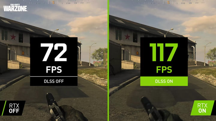 CoD Warzone running with and without DLSS enabled.
