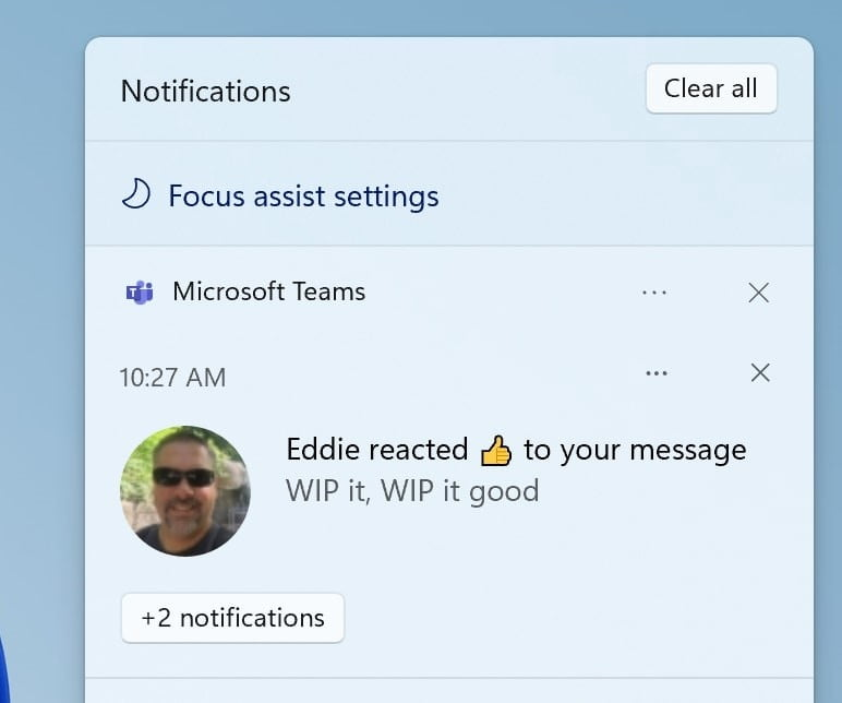 The new focus assist option in the notification center.