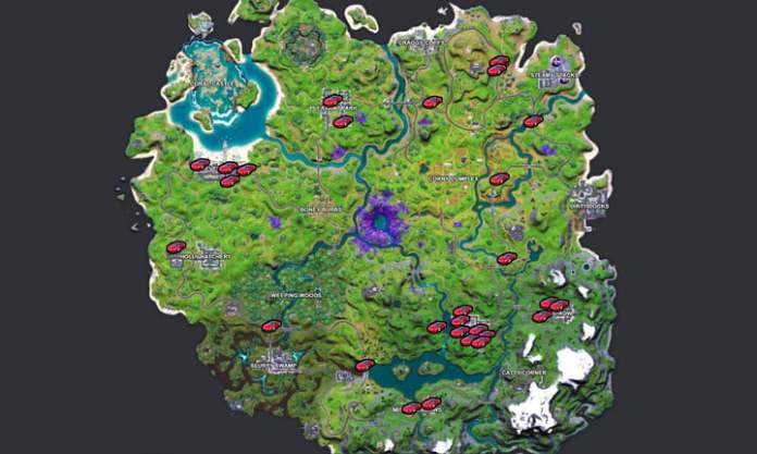 Map of all Whiplash locations in Fortnite.