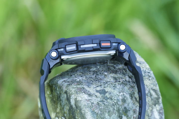 The Casio G-Shock GBD-200 red and grey buttons.
